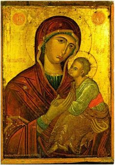 This is an example of a art piece from the Byzantine empire. It is a piece of Mosaic art. Mosaic art is putting small colored glass pieces together to form a big picture. This painting was made in the century. Byzantine Icons, Byzantine Art, Religious Icons, Religious Art, Paint Icon, Madonna And Child, Orthodox Icons, Medieval Art, Blessed Mother