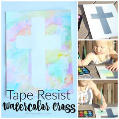 Try this fun spring art project with the kids My windows are open and the weather is gorgeous – it's got me thinking Spring!  Nothing says Spring like Easter and bright watercolor art so we decided to put the two together and make a Tape Resist Watercolor Cross. I love tape resist art, it is …