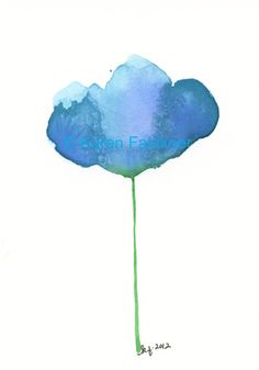 Blue Skies original watercolor flower painting by karenfaulknerart, $20.00