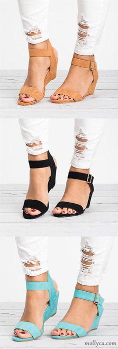 $38.29 USD Sale! SHOP NOW! Women Plus Size Wedges Adjustable Buckle Wedge Sandals