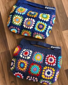 Crochet Bracelet Pattern, Crochet Tote, Crochet Handbags, Crochet Purses, Love Crochet, Crochet Squares Afghan, Granny Square Crochet Pattern, Loom Knitting, Knitting Patterns