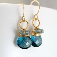 // London Blue Topaz and Sapphire Wire Wrapped Earrings #jewelry
