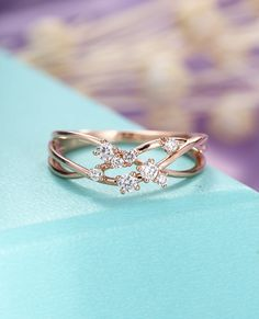 Diamond Cluster ring Twig Engagement Ring Rose Gold Floral Unique Wedding Women Bridal Jewelry Twisted Flower Mini Promise Gift Anniversary by HelloRing on Etsy https://www.etsy.com/listing/548044671/diamond-cluster-ring-twig-engagement