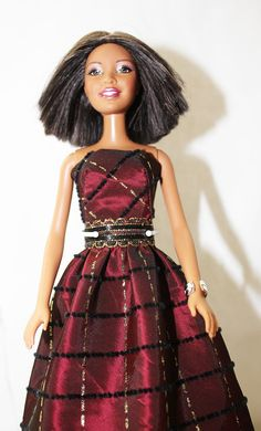 Upcycled Barbie or Fashion Doll Dress in Burgundy by Scrapcycling, $12.00