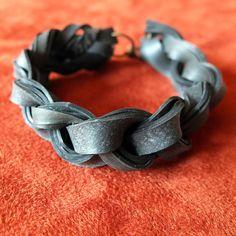 Braided Rubber Inner Tube Bracelet. $20.00, via Etsy.