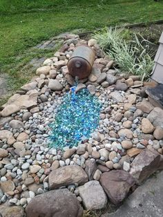 45 amazing dry river bed landscaping ideas you will love 21 « Home Decoration River Rock Landscaping, Large Backyard Landscaping, Landscaping With Rocks, Landscaping Ideas, Garden Yard Ideas, Garden Spaces, Garden Art, Diy Garden, Dry River