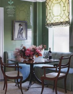 Another Fretwork Example from Michael Divine.  The green walls are so shiny they reflect the fretwork shade.  HOUSE BEAUTIFUL SEPTEMBER 2012 - Michael Devine