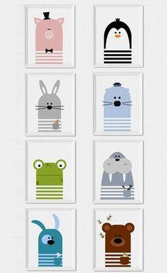 Kinderzimmer-Poster: Tiere.