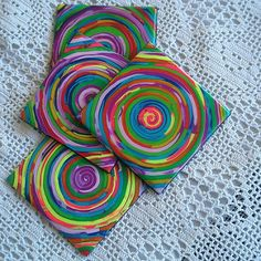 rainbow polymer clay coasters by klio1961