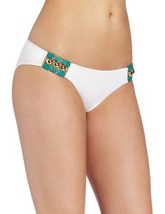 Feels So Right Modest Double Hip Piece Bottom White Color Front. More Info & Check Price:  http://www.beachbunnybikini.com/beach-bunny-bikini-feels-so-right-modest-double-hip-piece-bottom/