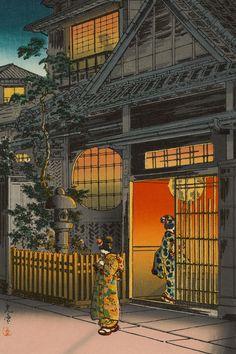 """土屋光逸 (風光礼讃) : Tsuchiya Koitsu  - """"四ツ谷荒木横町: Yotsuya Araki Yokocho"""",  1935."""