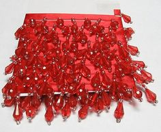 72 Red dangle Seed Glass and Acrylic Beaded Fringe  by chinesefrog