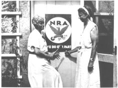 Eleanor - with Nancy Cook as they hang their NRA poster on the Val Kill factory, Hyde Park, New York. 1933.♡❤❤❤♡❤♡❤❤❤♡ http://www.fdrlibrary.marist.edu/education/resources/biographies.html  http://www.nps.gov/elro/index.htm     http://www.nps.gov/nr/travel/presidents/eleanor_roosevelt_valkill.html
