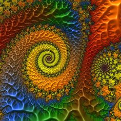 "A 3D fractal spiral rendered with FractalWorks, a free, high performance fractal renderer for Macintosh computers. You can download fractalworks and try it yourself at the FractalWorks download site. If you have the current version of FractalWorks, you can recreate this plot by copying the link below to the clipboard, then selecting ""New Fractal from URL in clipboard"" in FractalWorks: Fractalworks plot Sprial"