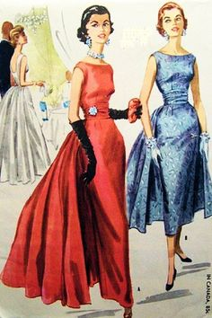 McCall's 3466 Misses' Formal Dress in Two Lengths Sewing Pattern, Vintage 1955 Prom, Party, Wedding Dress