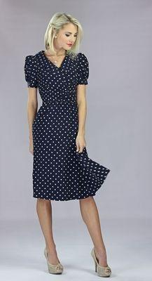 Dress in Navy Polka Dot...reminds me of the dress Gwen Stefani wears in Don't Speak.