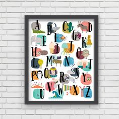 We just love this alphabet wall print from @LucyDarlingShop for a touch of modern and whimsy in the playroom!