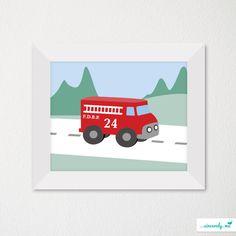 Custom Modern Children's Room Art Print / Nursery Decor / Newborn / Firetruck / Firefighter Theme. $21.00, via Etsy.