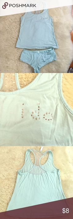 💍I DO-tank top/shorts pajamas💍 💍Adorable PJ's for a newly wed! Baby blue in color. Cute mesh racer back. Only worn 1 time. Has some stretch to it. Size Small. 💍 Intimates & Sleepwear Pajamas