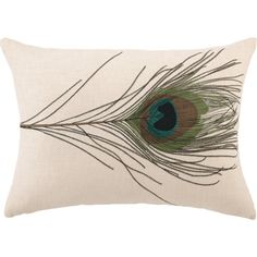 A single peacock feather in its truest colors and embroidered in minute detail is showcased on a simple white lumbar pillow to reinforce its natural beauty. Wit...