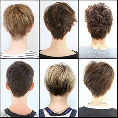Back of various pixie cuts