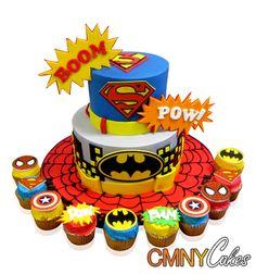 superheroes cake | Superhero Cake And Cupcakes