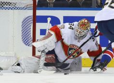 James Reimer #34 of the Florida Panthers makes the first period save against the New York Rangers at Madison Square Garden on November 20, 2016 in New York City. (Nov. 19, 2016 - Source: Bruce Bennett/Getty Images North America)
