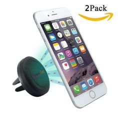 Car Mount, GreenElec 360 Degree [Air Vent Magnetic], Most Secure & Convenient Holder for iPhone 6s Plus 6s 5s 5c, Samsung Galaxy S6 Edge Plus S6 S5 S4 Note 5 4 3, LG G4-Retail Pack. World Class Design durable rubberized covered magnetic universal car mount; equipped with magentic plates to secure your device. Secures your device to car's air vent for full touch screen access. Metallic plate enables perfect mounting on your air vent of your choice. Customize your viewing experience while…