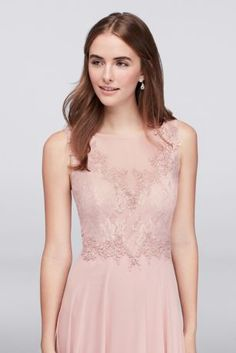 Beaded floral lace appliques glint from the illusion bodice of this long chiffon bridesmaid dress, creating a softly romantic look.  By Violets and Roses  Polyester  Back zipper; fully lined  Dry clean  Imported