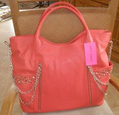 BETSEY JOHNSON SUPER STAR HOT PINK CORAL STUDS & CHAINS LARGE TOTE