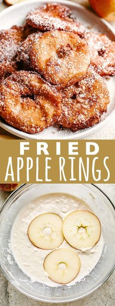 Apple Rings – A quick and delicious snack with sliced apple rings dipped in pancake batter, fried to a crisp, and topped with sweet cinnamon-sugar. It's like a donut + a pancake + a baked apple, tied all into ONE! Winter Desserts, Great Desserts, Köstliche Desserts, Delicious Desserts, Fudge Recipes, Fruit Recipes, Apple Recipes, Cooking Recipes, Apple Snacks