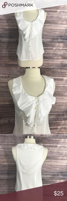 Edme & Esyllte Top White Gold Ruffled Sleeveless Edme & Esyllte Anthropologie Top Sz 0 White Gold Ruffled Sleeveless Blouse. Measurements: (in inches) Underarm to underarm: 16.5 Length: 21  Good, gently used condition Anthropologie Tops Blouses