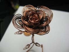 copper wire rose by TwistedCopperGallery on Etsy, $100.00