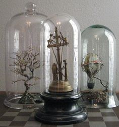 Large Glass Dome Display by RedCoralCurio on Etsy. Love the hot air balloon