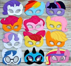 My little pony mask Your choice in full party pack or each one sold seperately These are perfect for party favors or everyday play .   Elastic straps have metal pieces that could pose a choking hazard to small children, Adult supervision at all times. If you like to order a party pack please message me for special pricing ...   I have 2 mask sizes kids under 7 and older kids to teens..