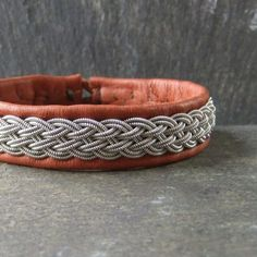 Sami Style Leather Bracelet with Pewter Braid