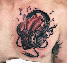 50 Headphones Tattoo Designs For Men - Musical Ideas - Masculine Headphones Heart Tattoos For Men Upper Chest You are in the right place about lion tattoo - Music Tattoo Designs, Music Tattoos, Tattoo Designs Men, Body Art Tattoos, Girl Tattoos, Sleeve Tattoos, Heart Tattoos, Music Heart Tattoo, Faith Tattoos