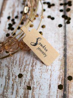Custom artsy cursive jewelry tag brown kraft by ctdscraftsupply