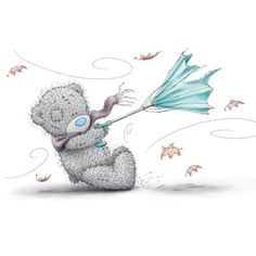 Bear with umbrella in the wind Tatty Teddy, Teddy Bear Pictures, Blue Nose Friends, Love Bear, Cute Teddy Bears, Bear Art, Illustrations, Pics Art, Cute Illustration