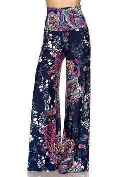 High Waist Fold Over Wide Leg Gaucho Palazzo Pants (Navy Floral) – Niobe Clothing
