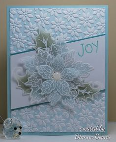 Diane Beans, Stamping from the Heart:  Poinsettia on Vellum--Heartfelt Creations Sparkling Poinsettia; Chartham Translucent Clear Vellum, 36# weight; SU Petals a Plenty embossing folder