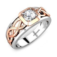 Leave people gazing at your finger with this dazzling and elegant diamond ring. The detailed designs of the rose gold between the white gold with a sparkly diamond will definitely set a style. Mens Ring Designs, Gold Ring Designs, Men's Jewelry Rings, Man Jewelry, Bridal Jewelry, Gents Ring, Mens Diamond Wedding Bands, Mens Gold Jewelry, Rings For Her