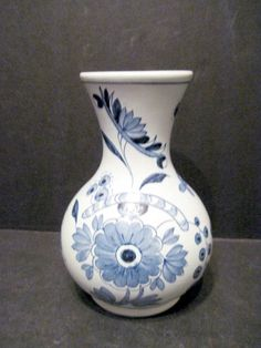Hand Painted Floral Delft  Williams Restoration Vase Made in Holland white blue