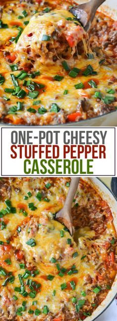 Everything you love about classic stuffed peppers blended into this easy and delicious One-Pot Cheesy Stuffed Pepper Casserole!