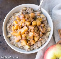 Apple Cinnamon Oatmeal with Caramelized Apples + Pecans Recipe on Yummly. @yummly #recipe