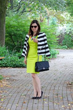 Club Monaco Striped Tamia Jacket, Ann Taylor Chartreuse Shift Dress, Kate Spade Polka Dot Heels, Chanel Black Jumbo Bag