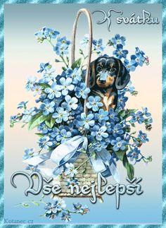 přání k svátku 047 Vintage Dachshund, Dachshund Dog, Dachshunds, Stitch Witchery, Victorian Art, Arts And Crafts Projects, Flower Basket, Cotton Quilts, Quilt Blocks