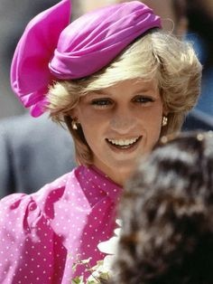 Wearing a hot pink dress by British designer, Donald Campbell, and a matching hat by John Boyd, the Princess of Wales visited a hospital in Perth, Australia on March 1, 1983.