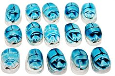 Scarab Beetle Beads Luck 15 Pcs Egyptian Pharaohs Carved Stones Ceramic Amulets