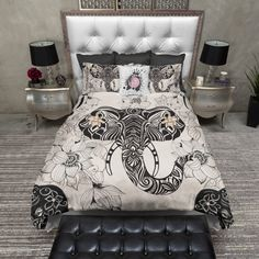 Lightweight BOHO Tribal Elephant Bedding  Tribal by InkandRags